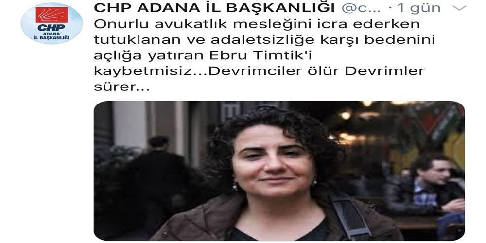 CHP Adana İl Başkanlığı'nın Twitter hesabından, DHKP-C'li Ebru Timtik anıldı