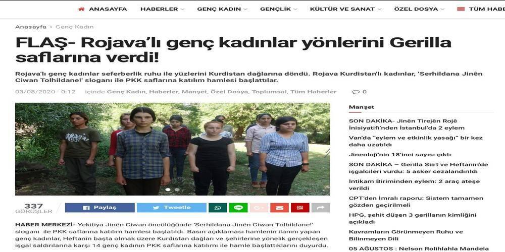 PKK'nın haber sitesi, 12-14 yaşlarındaki kız çocuklarının fotoğrafını böyle servis etti