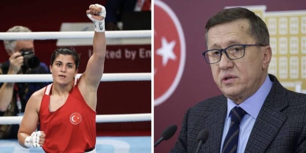 """Boksa """"Horoz dövüşü"""" benzetmesi yapan İYİ Partili Lütfü Türkkan'dan olimpiyat şampiyonu Busenaz Sürmeneli'ye büyük ayıp!"""