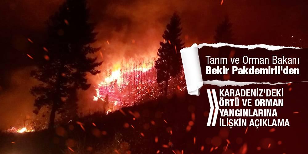 Tarım ve Orman Bakanı Bekir Pakdemirli'den Karadeniz'deki örtü ve orman yangınlarına ilişkin açıklama