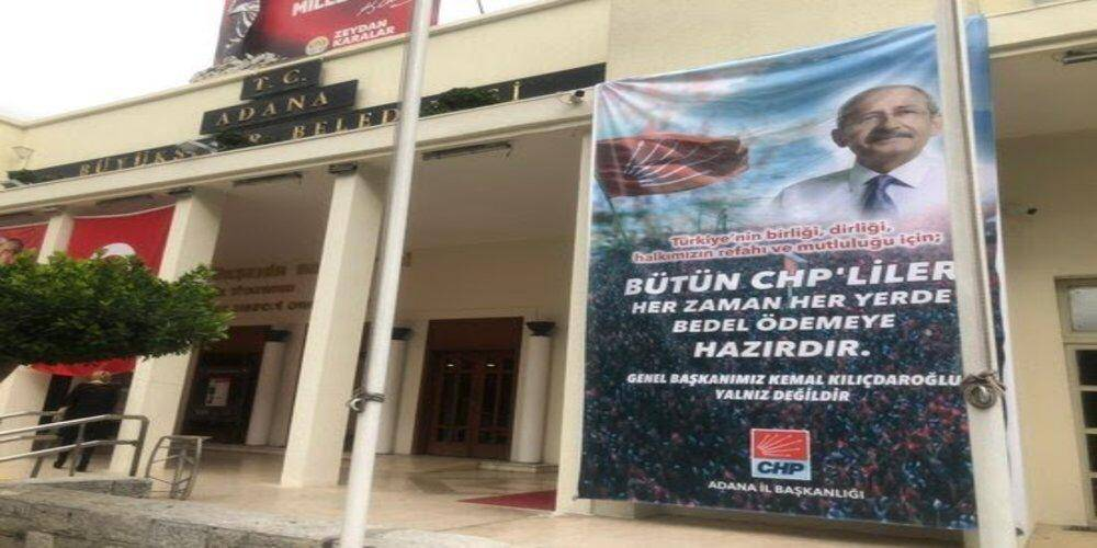 CHP'li Adana Büyükşehir Belediye Başkanı Zeydan Karalar hizmet binasını parti merkezi yaptı!