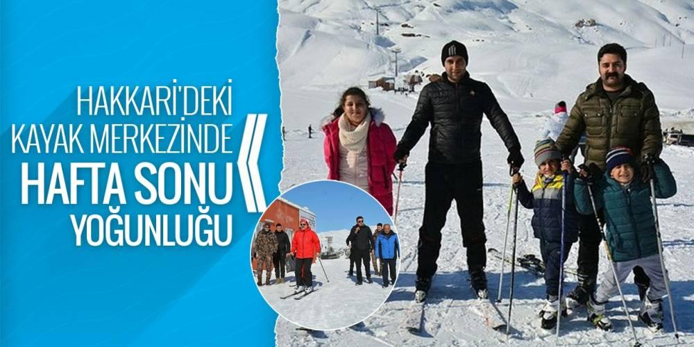 Hakkari'deki kayak merkezinde hafta sonu yoğunluğu