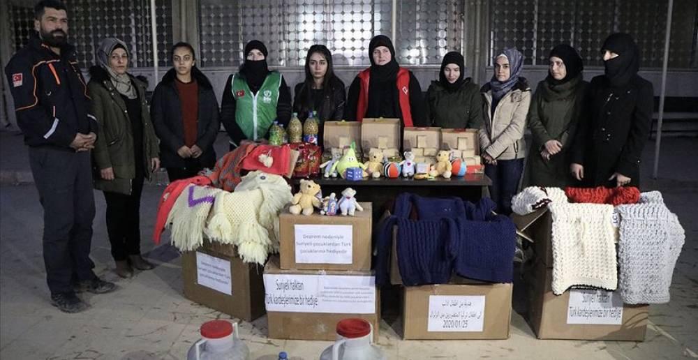 Afrinli kadınlardan Elazığ'daki deprem bölgesine yardım
