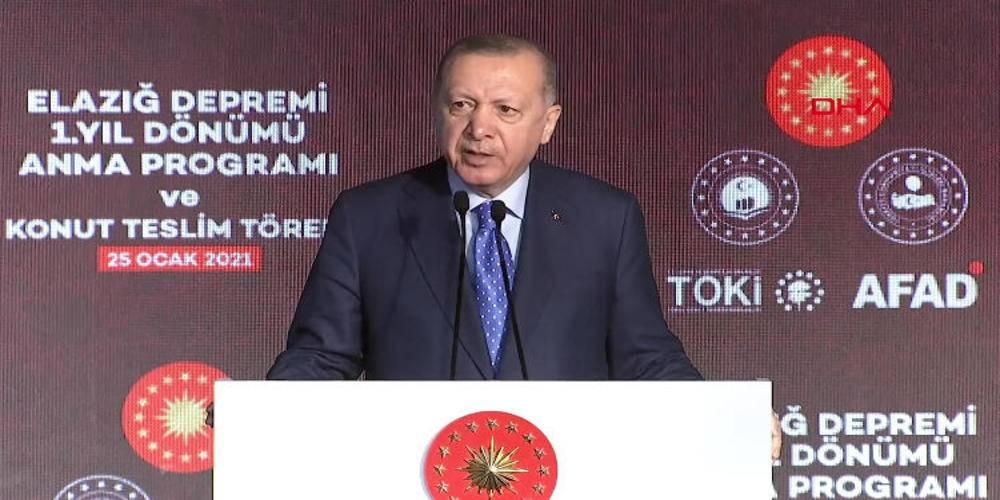 Cumhurbaşkanı Erdoğan'dan Elazığ'da deprem konutları teslim töreninde konuştu: Geri kalanları da 6 ay içinde bitireceğiz