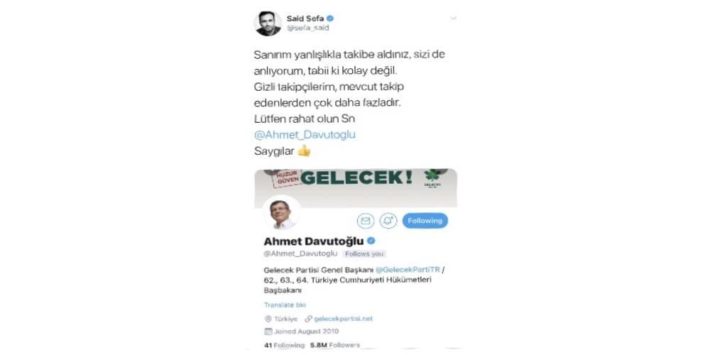 Ahmet Davutoğlu, fetöcü Said Sefa'yı takibe aldı