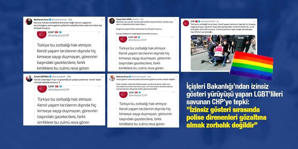"""İçişleri Bakanlığı'ndan, izinsiz gösteri yürüyüşü yapan LGBT'lileri savunan CHP'ye tepki: """"İzinsiz gösteri sırasında polise direnenleri gözaltına almak zorbalık değildir"""""""
