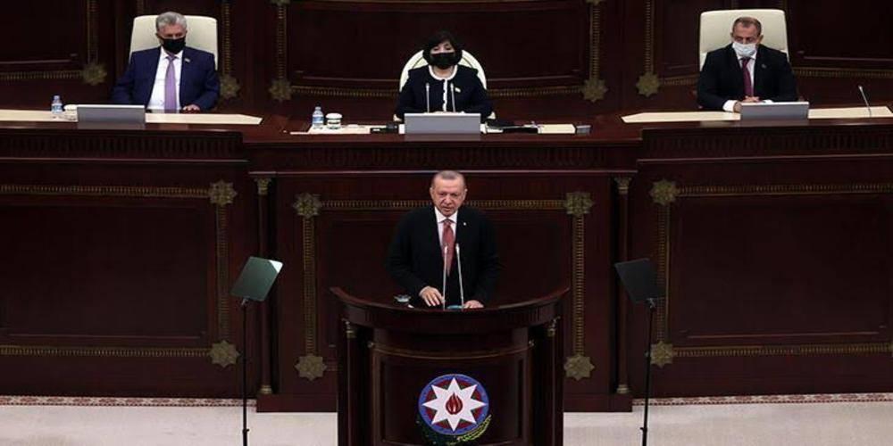 Cumhurbaşkanı Erdoğan, Azerbaycan Meclisi'ne hitap etti... 'Bütün dünya bilsin ki' diyerek ilan etti