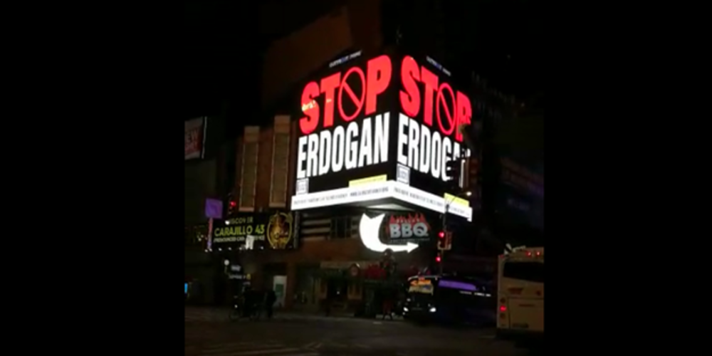 FETÖ'cüler iş başında: New York'un en işlek caddesi Time Square'de 'Stop Erdogan' reklamları yer aldı