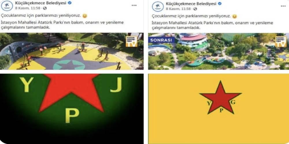 Küçükçekmece'deki çocuk parkında terör örgütü sembollerini andıran görselle ilgili Belediye Başkan Yardımcısı ile Park Bahçeler Müdürü görevden uzaklaştırıldı