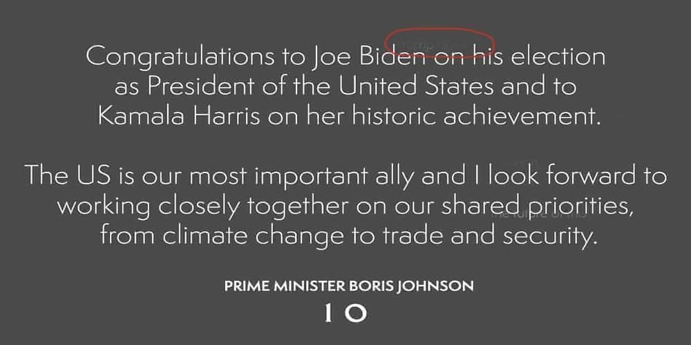 İngiliz Başbakan Johnson'ın Biden'ı tebrik mesajında dikkat çeken 'Trump' detayı