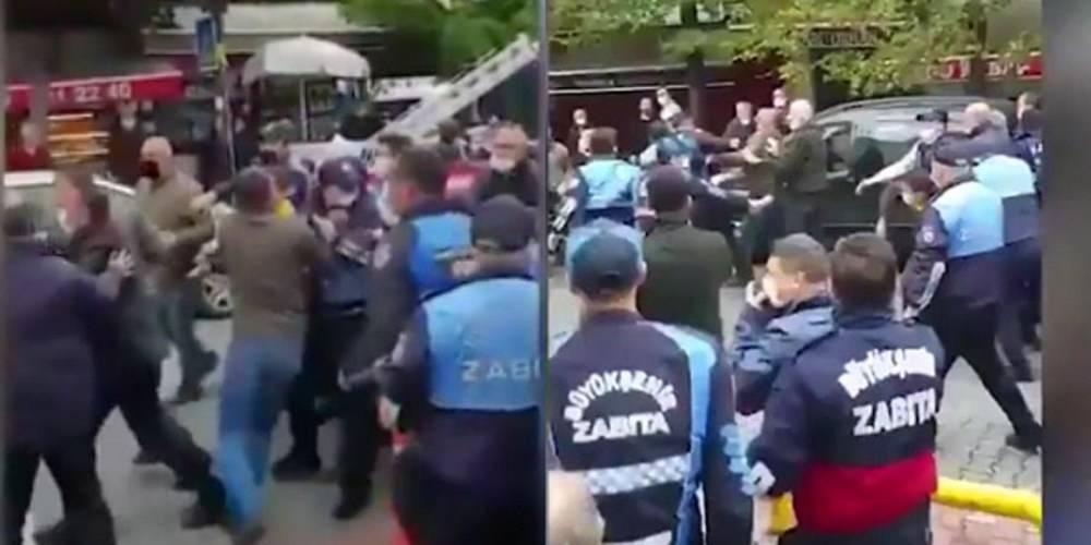 Fatih Camii Kur'an Kursu'na ait otoparka el koymak isteyen İBB zabıtasıyla Fatih zabıtası birbirine girdi