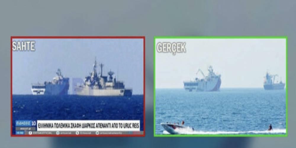 """Yunanistan devlet kanalı montaj fotoğrafla """"Oruç Reis'i kovduk"""" haberi yaptı"""