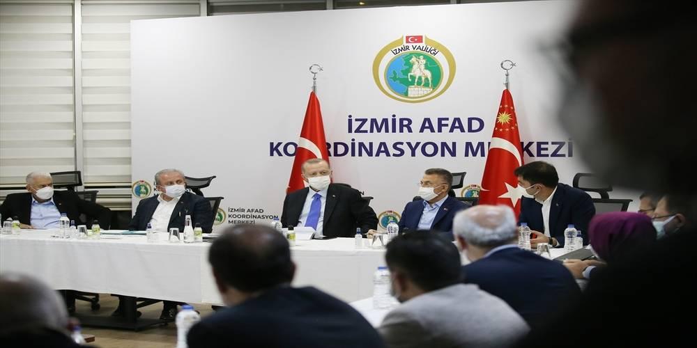 Cumhurbaşkanı Erdoğan deprem bölgesi İzmir'de